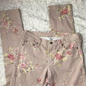 Garnet Hill Pink Floral Print Straight Leg Jeans